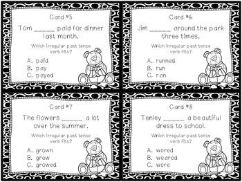 Irregular Past Tense Verb Task Cards / SCOOT