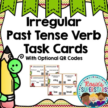 Irregular Past Tense Verb Task Cards With and Without QR Codes