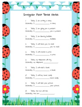 Irregular Past Tense Verb Worksheet