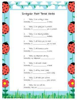 irregular past tense verb worksheet - Irregular Past Tense Verbs Worksheet