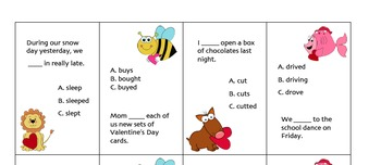 Irregular Past Tense Verb cards