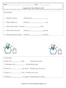 Irregular Past Tense Verbs- Assessment & Matching Cards (L.2.1d)