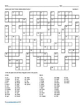 Verbs: Irregular Past Tense Crossword Puzzles