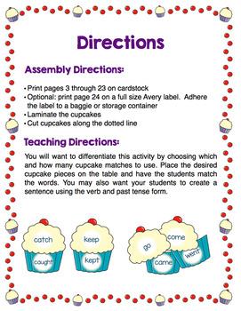 Irregular Past Tense Verbs - Cupcake Match
