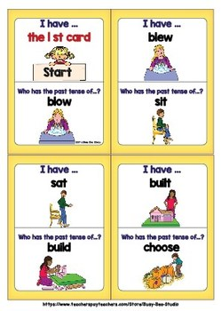 Irregular Past Tense Verbs Game: I have, who has