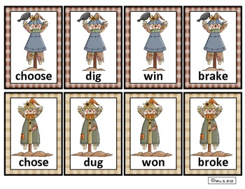 Irregular Past Tense Verbs- Matching Card Game-Fall Theme