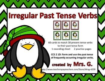 Irregular Past  Tense Verbs: Matching Card Game Center Activity Penguins