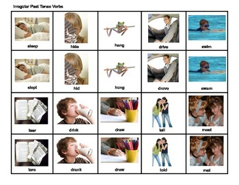 Irregular Past Tense Verbs, Present Tense Verbs, Speech Therapy, Grammar Photos