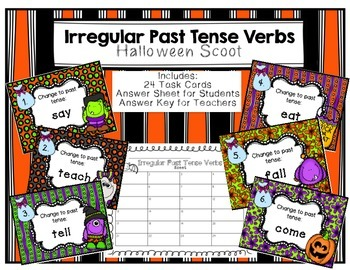 Irregular Past Tense Verbs Scoot Halloween