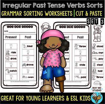 Irregular Past Tense Verbs Sort | Grammar Cut and Paste Worksheets | Bundle