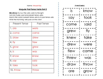 Verbs: Irregular Past Tense Verbs Sort and Key (2 of 6)