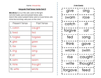 Verbs: Irregular Past Tense Verbs Sort and Key (3 of 6)