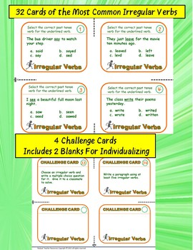 Vocabulary: Task Cards Irregular Past Tense Verbs Task Card Set ELA ESL