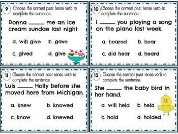 Irregular Past Tense Verbs Task Cards