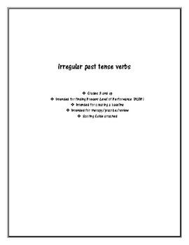 Irregular Past Tense Verbs Worksheet (with Scoring Guide)