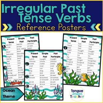 Irregular Past Tense Verbs and Participles Posters, Ocean Theme