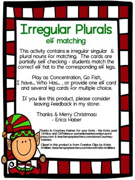 Irregular Plural Matching Cards for Language Therapy and Intervention
