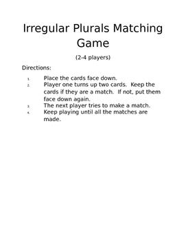 Irregular Plural Matching Game