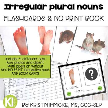Irregular Plural Noun Flashcards & No Print Interactive Book