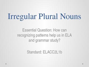 Irregular Plural Noun Common Core Framework Activity PowerPoint