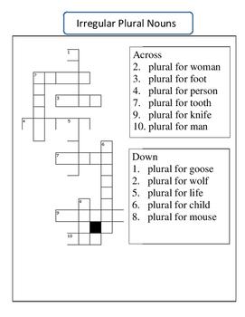 Irregular Plural Noun Crossword Puzzle