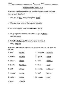Irregular Plural Noun Quiz