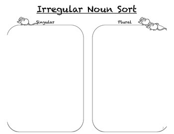 Irregular Plural Noun Sort & pre/post test