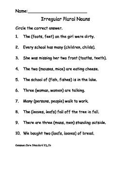 Irregular Plural Noun Worksheet Common Core ELA