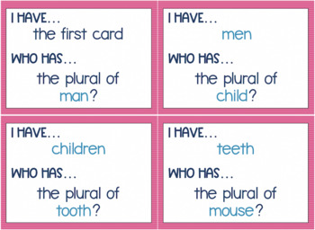 Irregular Plural Nouns Game - I Have, Who Has
