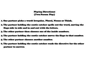 Irregular Plural Nouns Activity 2nd, 3rd, 4th, 5th Grade Grammar Games