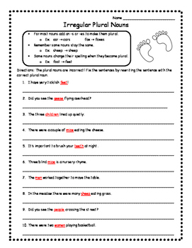 Irregular Nouns Worksheets Skill Practice Irregular Plural Nouns Activities