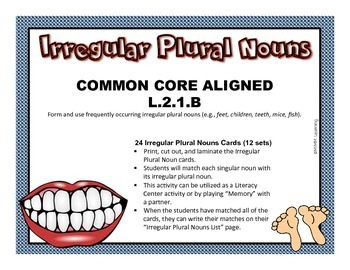 Irregular Plural Nouns Activity (Common Core Aligned L.2.1.B)