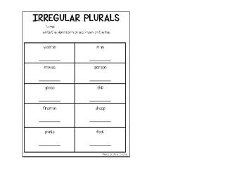Irregular Plural Nouns Assessment