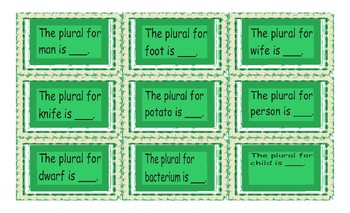 Irregular Plural Nouns Card Game