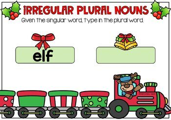 Irregular Plural Nouns Christmas Edition Digital BOOM Cards