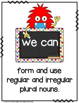 Irregular Plural Nouns - CCSS Friendly Monster