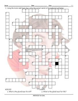 Irregular Plural Nouns Crossword Puzzle