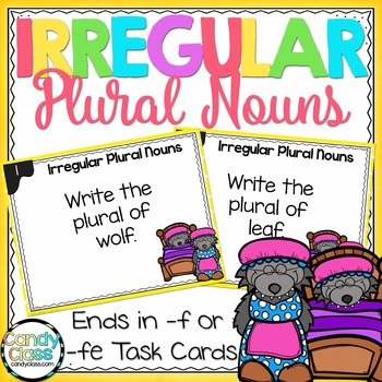 Irregular Plural Nouns Task Cards - Ends in F or FE