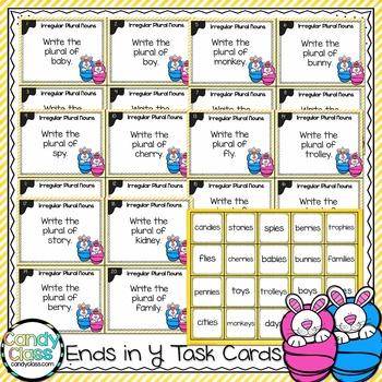 Irregular Plural Noun Task Cards - Ends in Y - L.2.1.B