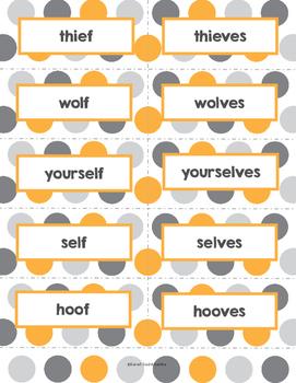 Irregular Plural Nouns Flash Cards, Game Cards, or Sort