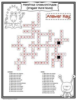 Irregular Plural Nouns - Friendly Monster Crossword Puzzle