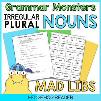Irregular Plural Nouns - Friendly Monster Mad Lib Style CCSS Activity