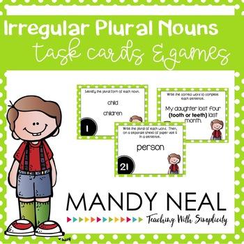 Irregular Plural Nouns Grammar Task Cards, Games, and Centers