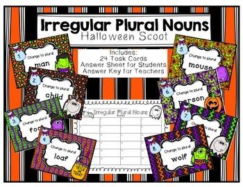 Irregular Plural Nouns Halloween Scoot