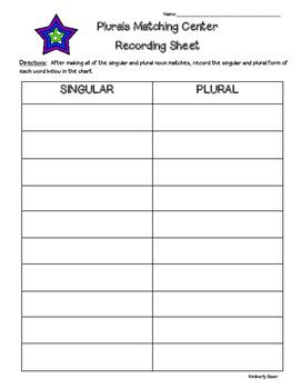 Irregular Plural Nouns Matching Center and Recording Sheet