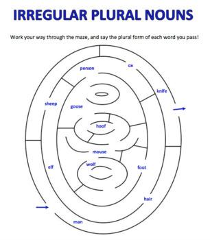 Irregular Plural Nouns Mazes