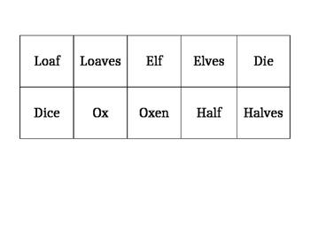 Irregular Plural Nouns Memory Game