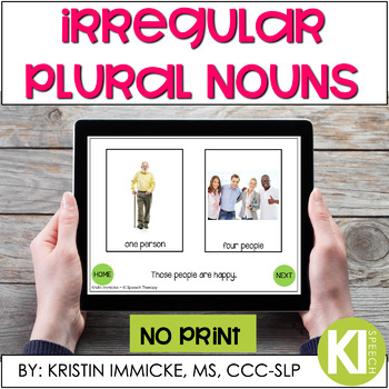 Irregular Plural Nouns NO PRINT Interactive Book for Speech and Language Therapy