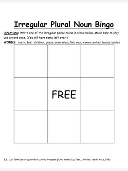 Irregular Plural Nouns Practice-EDITABLE! (second grade)