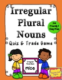 Irregular Plural Nouns Quiz and Trade Review Game or Flashcards